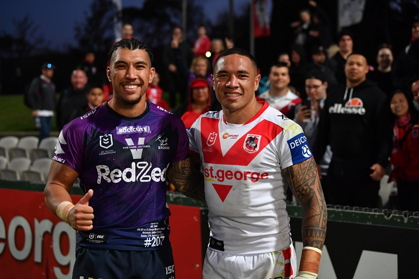 Aaron Pene with Tyson Frizell after his NRL debut in round 20 last year.