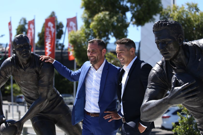 Cameron Smith and Billy Slater at their statue unveiling.