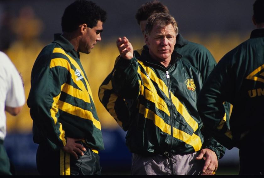 Bob Fulton with Mal Meninga during a Kangaroos training session in 1992.