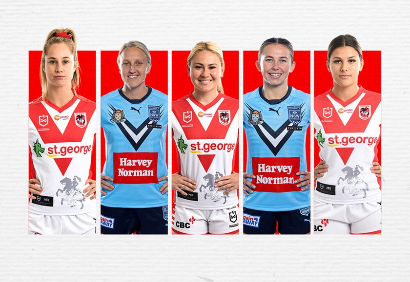 St George Illawarra's 2021 marquee signings - Kezie Apps,  Holli Wheeler, Keeley Davis, Quincy Dodd and Shaylee Bent.