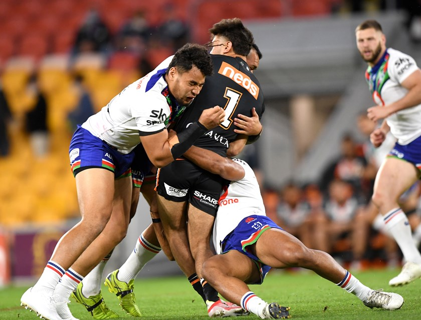 Daine Laurie is injured playing for Wests Tigers.