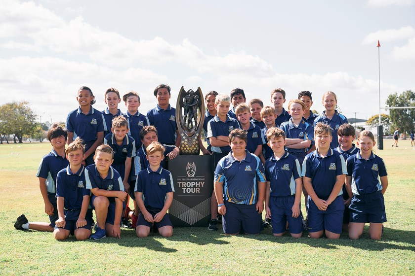 More happy participants in the NRL Trophy Tour of Queensland.