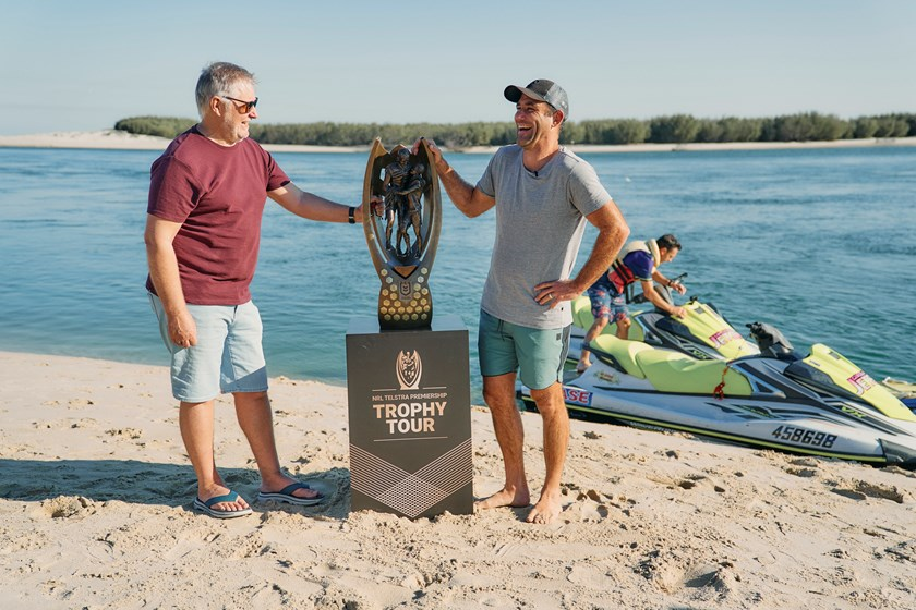 League great Cameron Smith (right) is part of the NRL Premiership Trophy Tour.