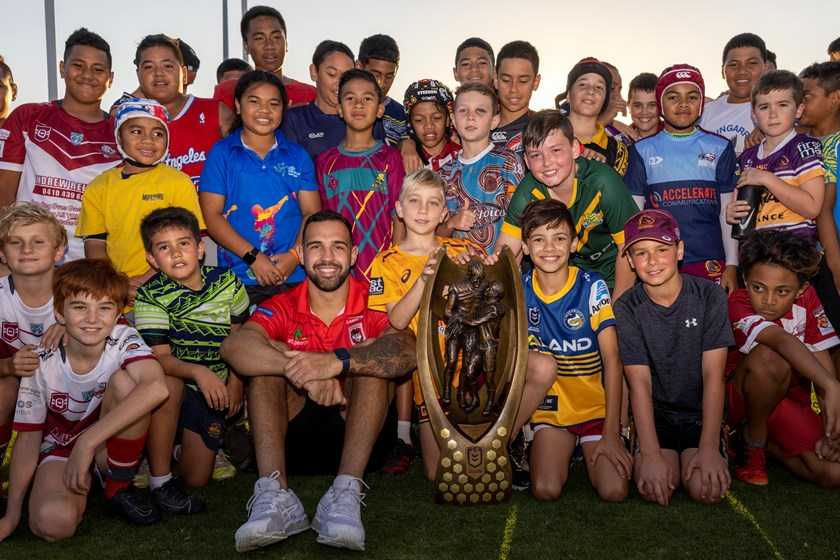 Dragons forward Josh Kerr and young fans with the NRL Trophy in Redcliffe.