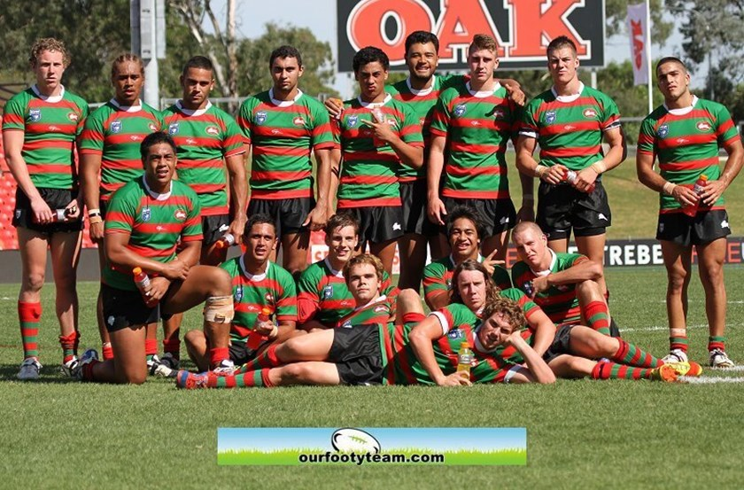 Paul Momirovski (back row, third from right) and Alex Johnston (back row, fourth from left) in Souths' 2013 SG Ball team.