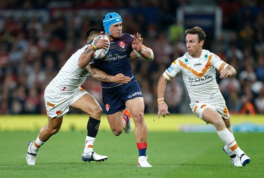 St Helens' Sione Mata'utia and Catalans' James Maloney in the Super League Grand Final.