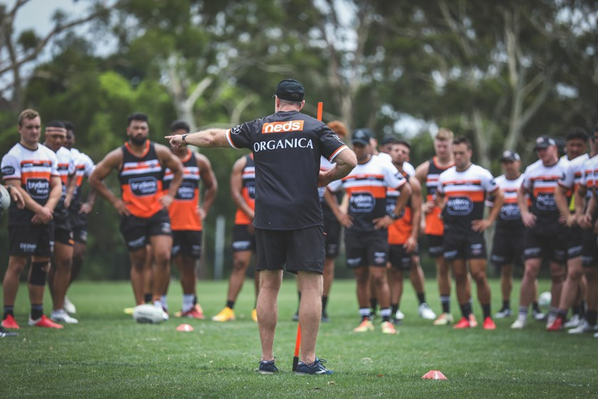 The Wests Tigers at pre-season training.