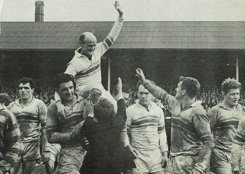 Bevan chaired off after his last home game for Warrington.
