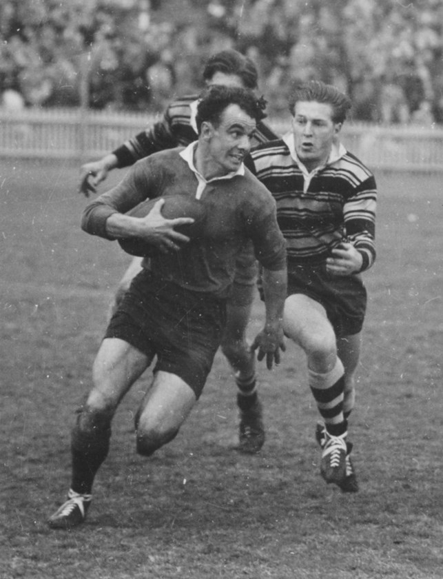 Clive Churchill playing for Souths against Balmain in 1949.
