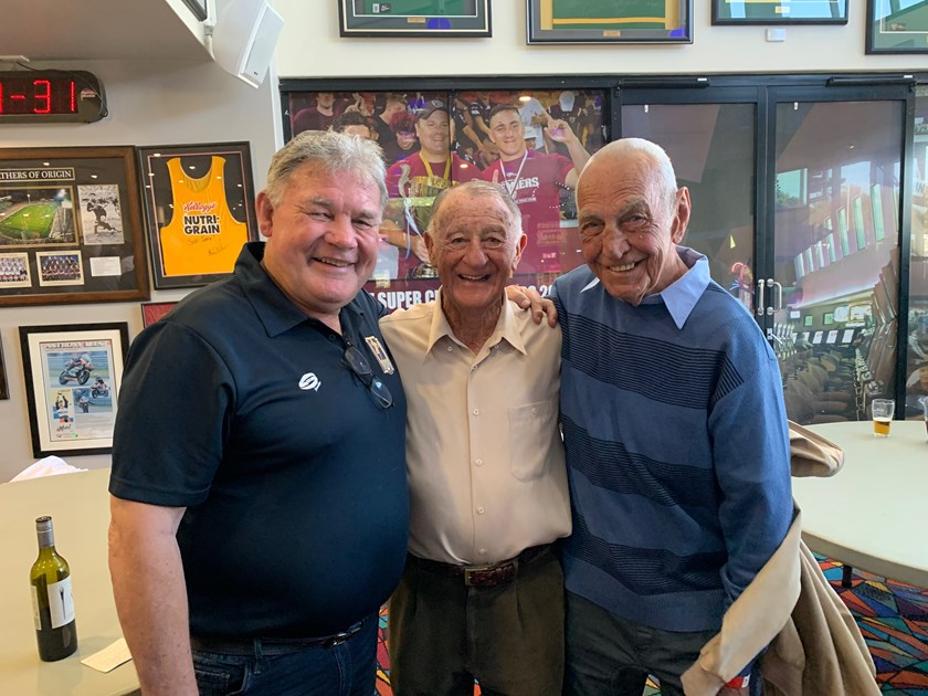 Graham Eadie with former Manly supremo Ken Arthurson and 1972-73 premiership captain Fred Jones.
