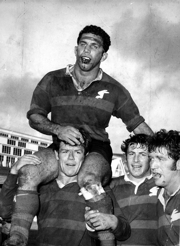 John Sattler is chaired from the field by Bob McCarthy after his heroics in the 1970 Grand Final.