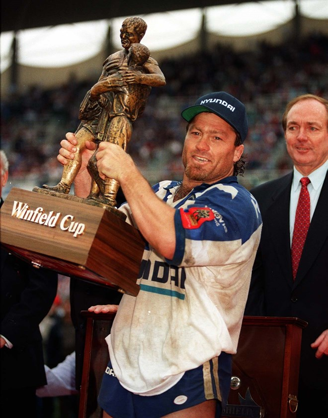 Terry Lamb lifts the Winfield Cup after Canterbury won the 1995 grand final.