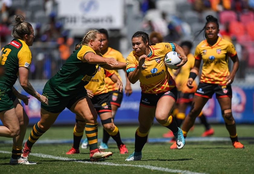 Tahina Booth in full cry against the Jillaroos.