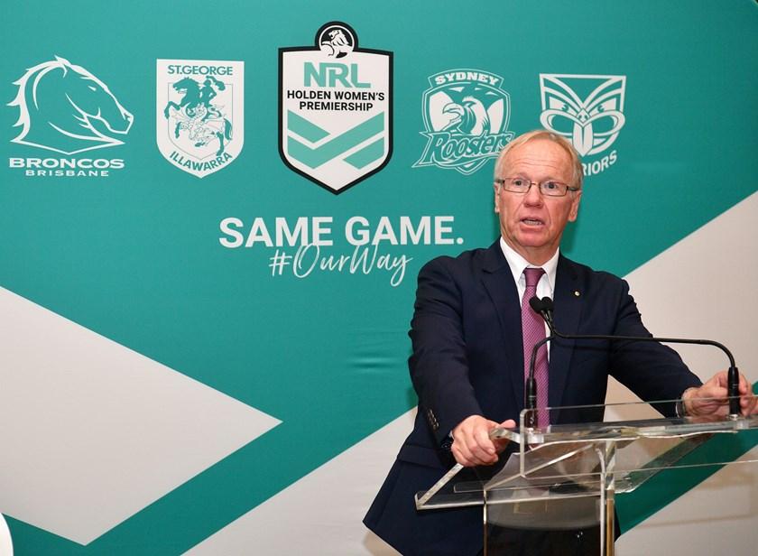 ARL chairman Peter Beattie at the Women's NRL Premiership Launch.