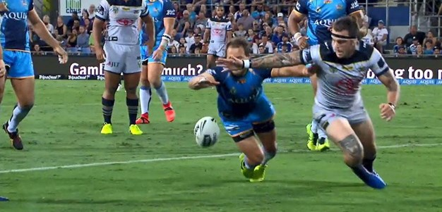Rd 4: Titans v Cowboys - Try 4th minute - Johnathon Thurston