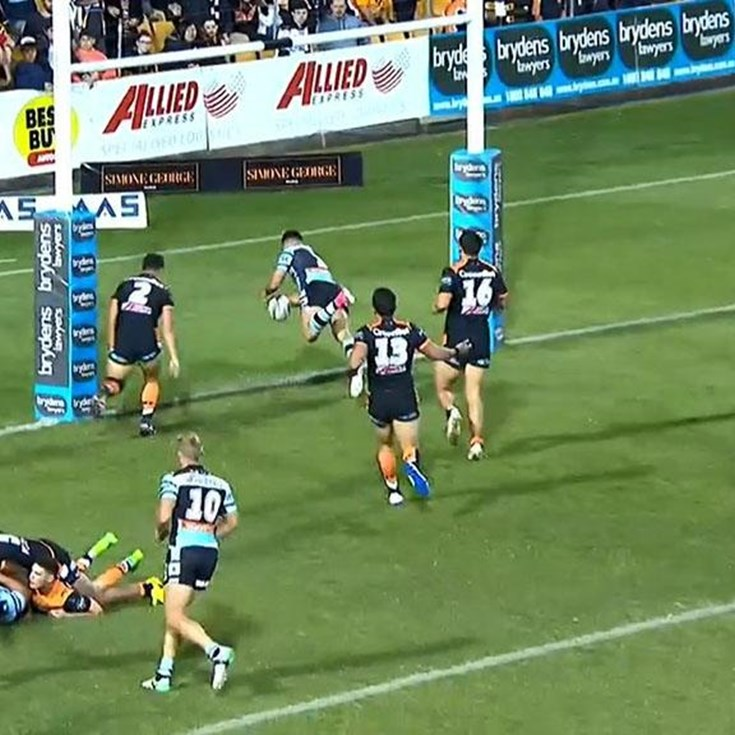 Rd 9: Tigers v Sharks - Try 57th minute - Valentine Holmes