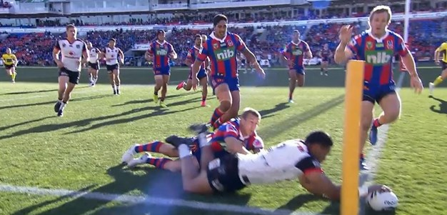 Rd 22: Knights v Warriors - Try 25th minute - David Fusitua