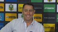 Flanagan reacts to Fifita's try celebration