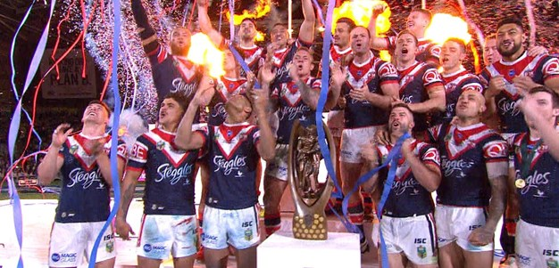 Roosters lift the the 2018 Premiership trophy