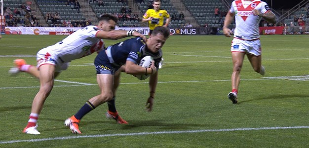 Drinkwater scores his first try as a Cowboy