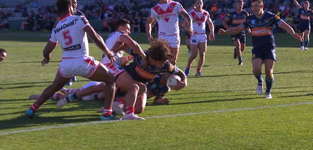 Peachey breaks the line and flicks it out to Proctor