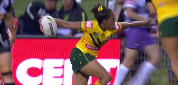 Tungai gets a try from another Jillaroos trick play