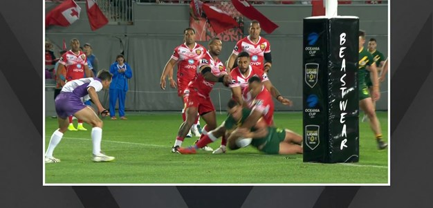 Vaughan scores his first try in the green and gold
