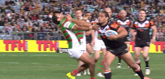 Johnston cops a fend from Taupau