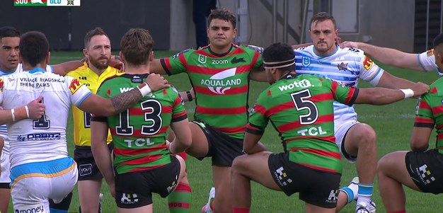 The Rabbitohs and Titans players are united