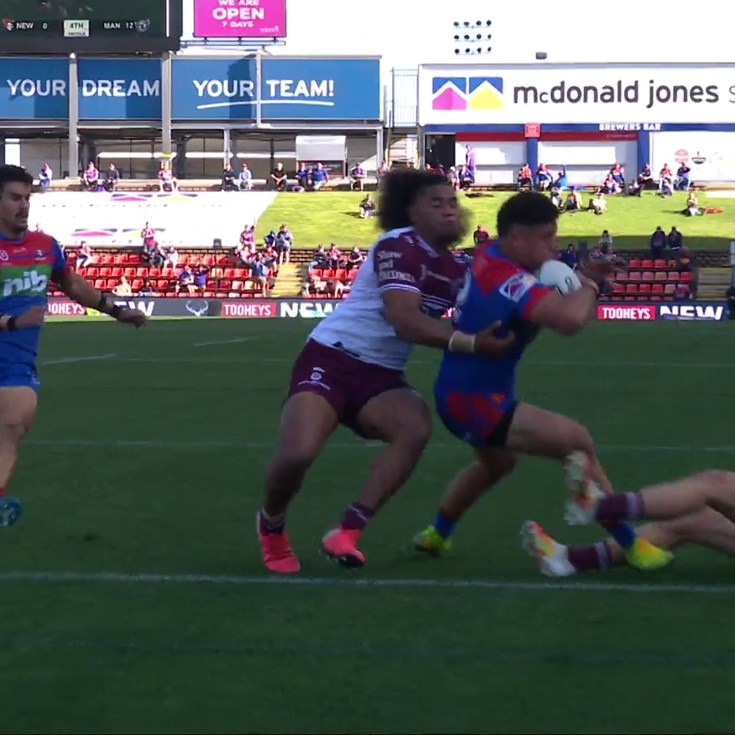 Pearce and Ponga exchange passes as To'a scores