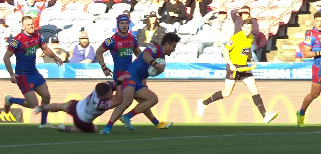 Ponga puts Tuala into a gap and the Knights have the lead