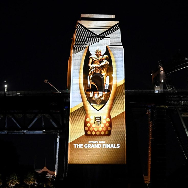 Sydney Harbour Bridge lit up in grand final week