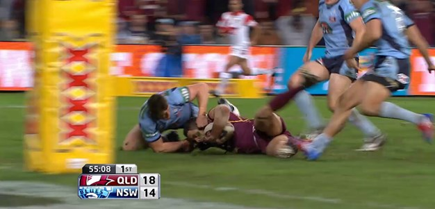 Josh Morris with one of the great Origin try savers