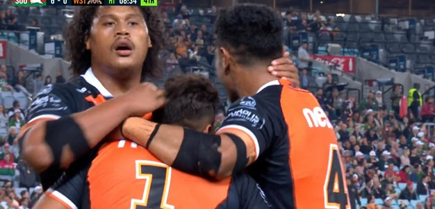 The left edge of the Wests Tigers conjure a beauty