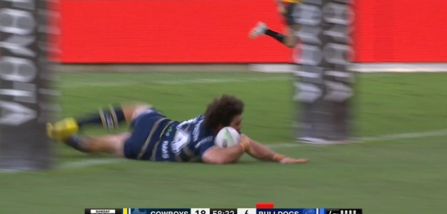 Holmes finds space around the ruck to set up Granville