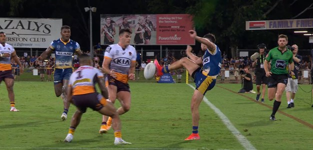 The karate kick try: Moses and Gutherson's beaut