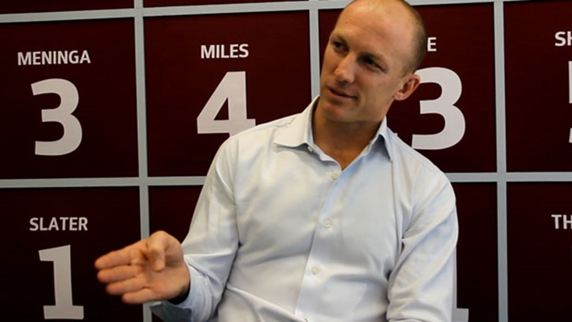 Darren Lockyer in the Origin themed room at Rugby League Central.