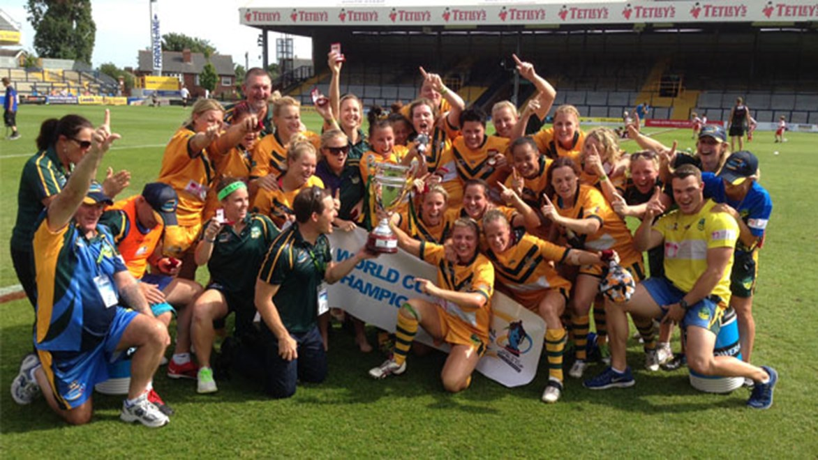 Australian Jillaroos celebrate winning the World Cup.