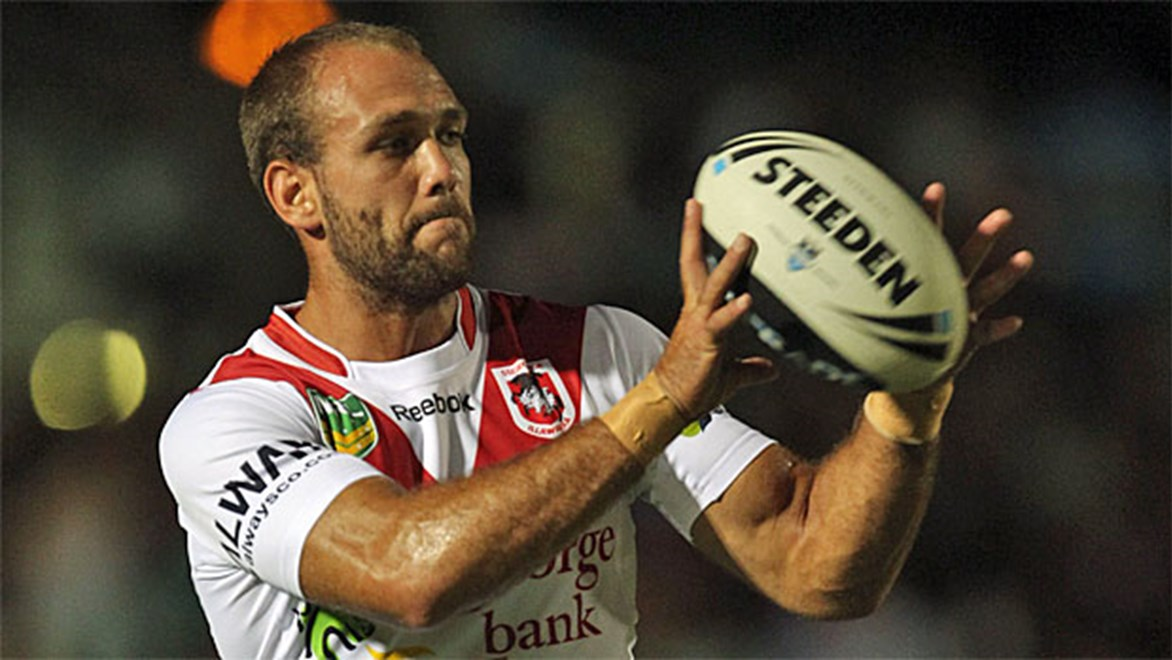 Jason Nightingale couldn't pick a better night to score his first try since Round 7, playing his 150th first-grade game against the Rabbitohs