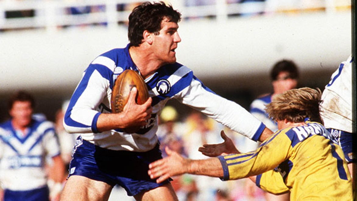 Canterbury's Andrew Farrar and Parramatta's Paul Taylor square off in the 1984 grand final won 6-4 by the blue and whites.