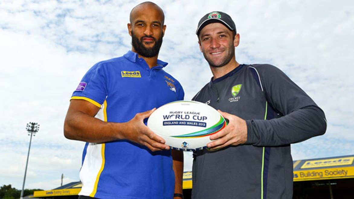 England and Leeds Rhinos star Jamie Jones-Buchanan and Aussie Test cricketer Phillip Hughes join forces to mark 50 days until England take on Australia in the opening game of the 2013 Rugby League World Cup