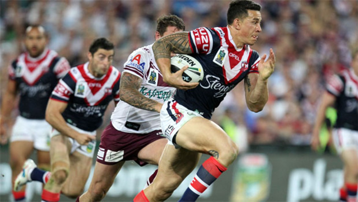 Sonny Bill Williams breaks clear during the 2013 NRL Telstra Premiership Grand Final.