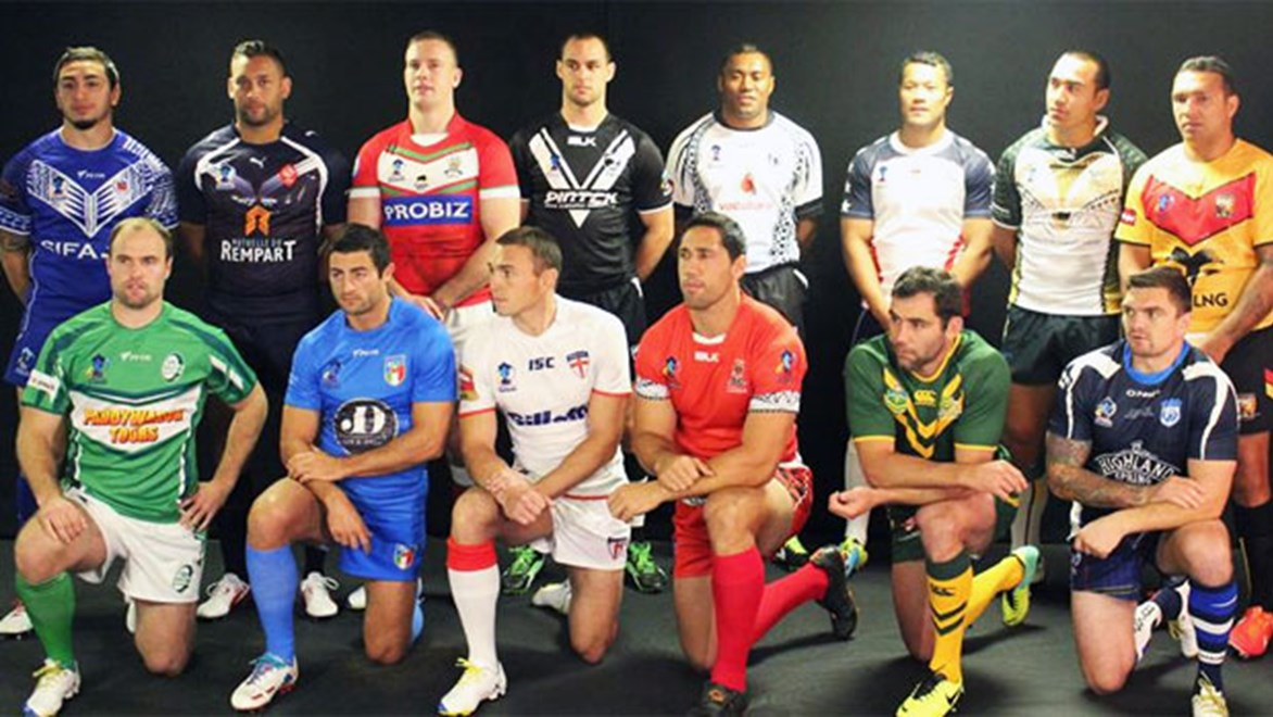 The 14 national team skippers at the 2013 Rugby World Cup launch.