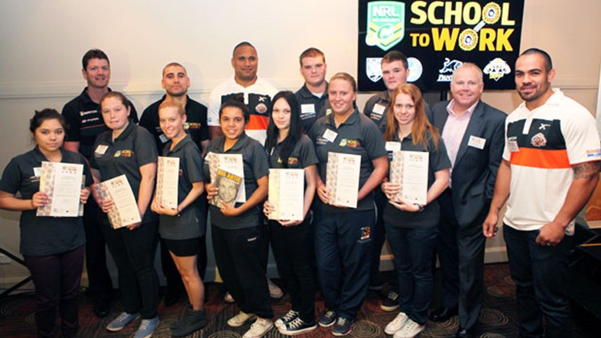 Wests Tigers graduates from the NRL's 'Learn Earn Legend! School to Work' Western Sydney program.