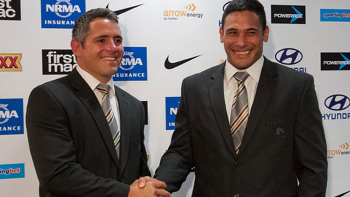 Corey Parker and Justin Hodges will act as co-captains for the Brisbane Broncos in 2014.