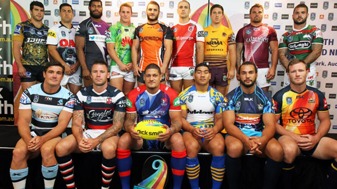 Representatives of all 16 NRL teams show off their Dick Smith NRL Auckland Nines jerseys.