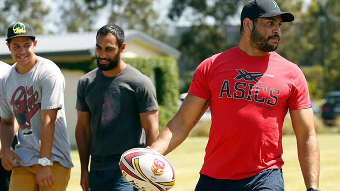 Greg Inglis struts his stuff at the 2014 NRL Indigenous camp.