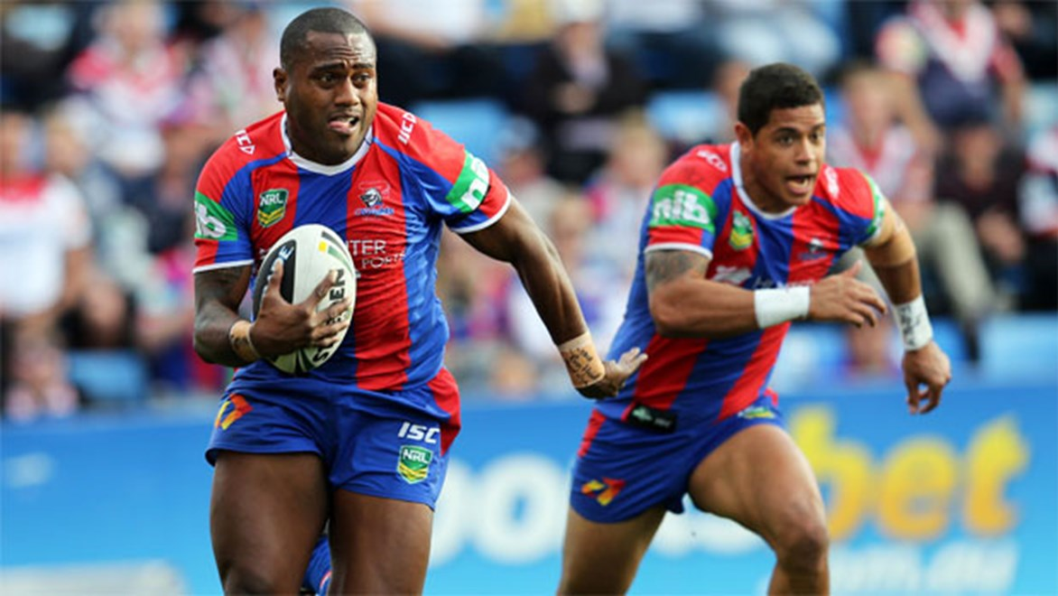 Backline speedsters Akuila Uate and Dane Gagai will be crucial players for the Newcastle Knights. Copyright: Renee McKay/NRL Photos.