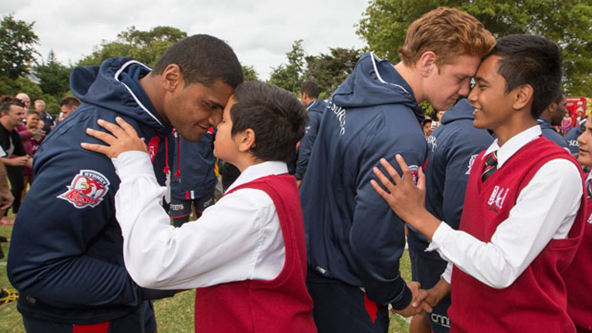 Roosters players receive the traditional Maori greeting at their visit to the Te Atatu rugby league club in west Auckland. Copyright: www.photosport.co.nz
