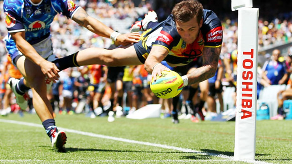Kyle Feldt dives over in the corner for a try in the Auckland Nines. Photo: photosport.co.nz